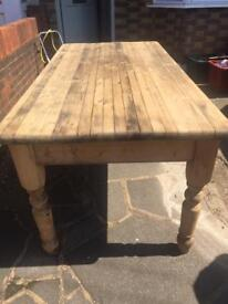 Wooden farmhouse table and 6 chairs
