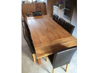 Solid Oak Dining Table & 8 Faux Leather Chairs