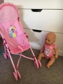 Baby born and princess pram