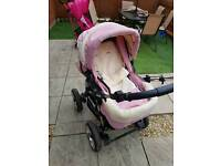 Baby pink 2 in 1 city driver pram