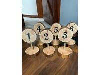 Rustic Log Slice Table Numbers x6