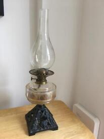 Metal and glass oil lamp