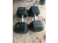 2x 32KG Black rubber HEX DUMBBELLS gym kit