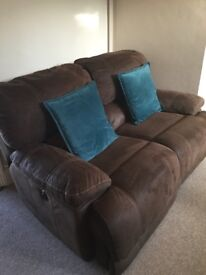 2 seater brushed leather recliner sofa