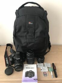 Canon 600D DSLR Camera Starter Kit (3 Lenses, Sandisk SD Cards, Spare Batteries, Lowepro Camera Bag)