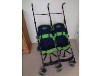 MACLAREN DOUBLE BUGGY/PUSHCHAIR WITH HOOD AND RAIN COVER - UMBRELLA FOLD, GC, RECLINING SEATS