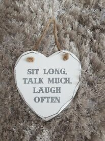 Sit long, Talk much, Laugh often - love heart decor