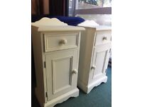 Bedside tables X 2 in cream and a matching mirror