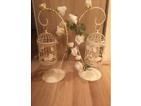 Vintage birdcages home decor centrepiece x2