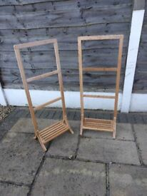 Free-Standing Bamboo Towel Rack 3 Rails and 1 Shelf (x 2)
