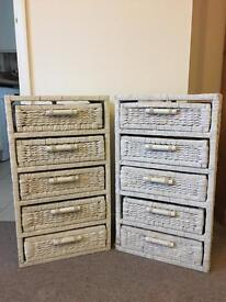 Pair of White Wicker Chest of Drawers