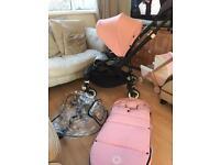 Bugaboo bee 3 limited ed black frame, grey melange pink footmuff