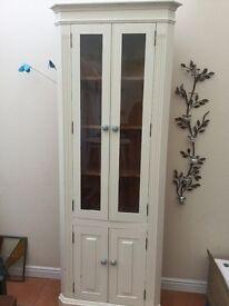 Painted Pine Corner Cupboard with Glazed Doors