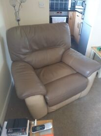 Leather electric fully reclining armchair
