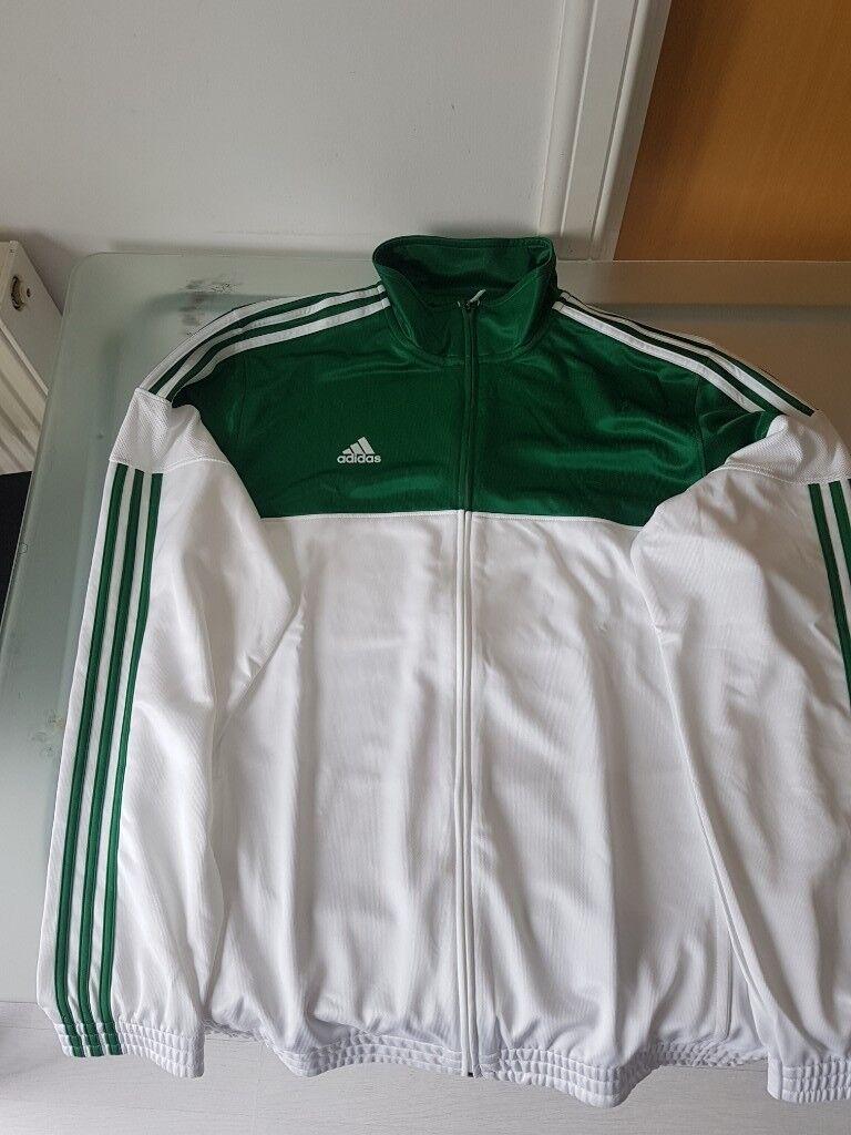 Classic Adidas Mens 3 Stripe Warm Up Basketball Track Jacket Green