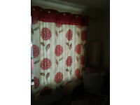 Red and Cream Eyelet top lined curtains 90 inches by 72 drop