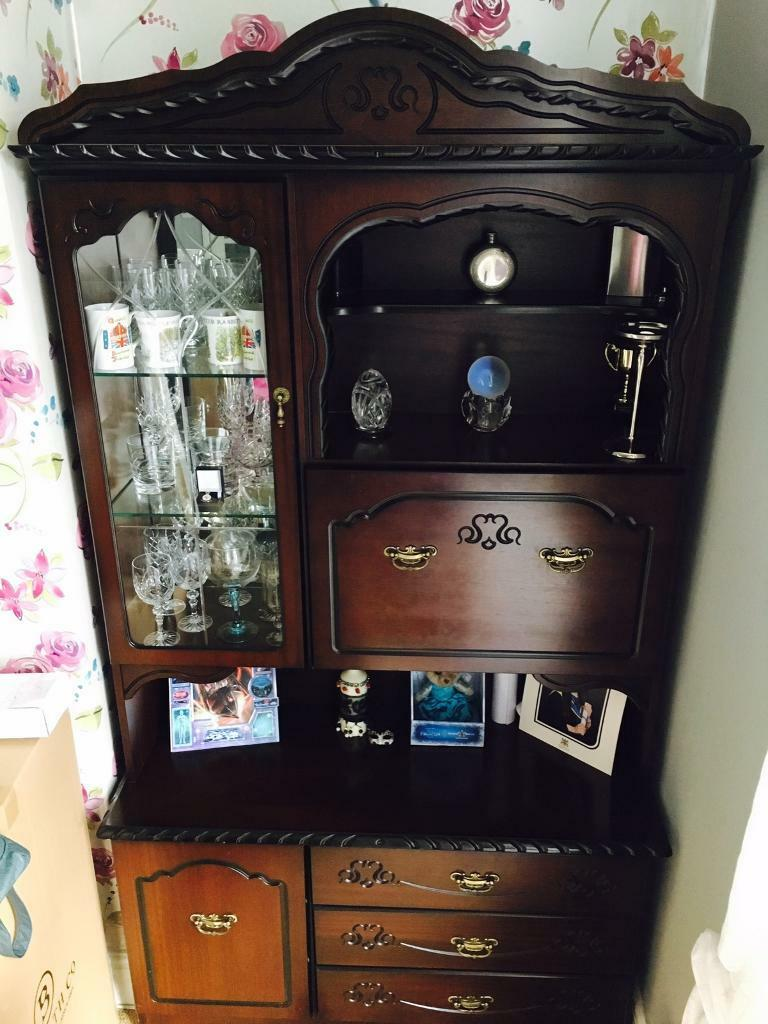 Solid Mahogany Display Drinks Cabinet