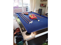 7 x 4 Pool table, free play, black with blue cloth