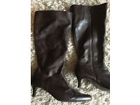 Ladies brown leather boots size 6 wide fit