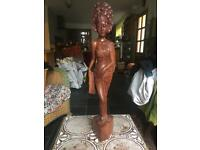 Hardwood carved wooden statuette. Thai lady ornament
