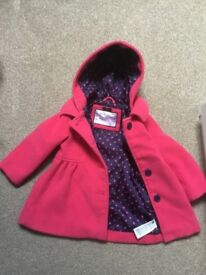 Girls pink winter coat age 12-18 Months from mothercare