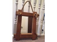 Small rope hung mirror