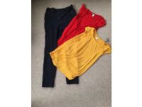 Bundle of maternity clothes maternity dress trousers and tops sizes 12-14 good condition
