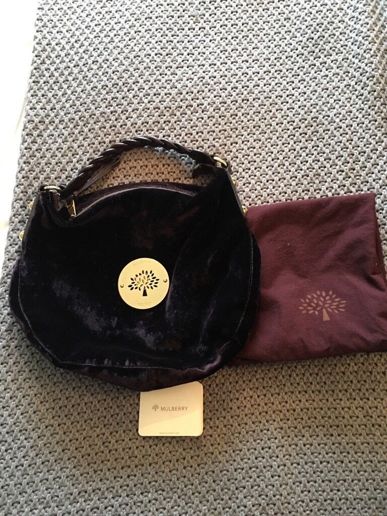 Mulberry Daria Handbag Dark Purple Ostrich Genuine