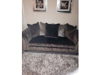 3 seater and 2 seater crushed velvet settees