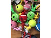 SHARPLES 'N' GRANT - ROPE 'N' BALL - THROW TUG TOY - DOG - RED, YELLOW, GREEN, PINK & YELLOW TUGTOY