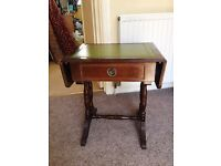 Old Card Table/Side Table With Folding Sides and Green Leather Top
