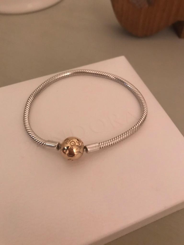 Pandora Bracelet With 14k Gold Clasp