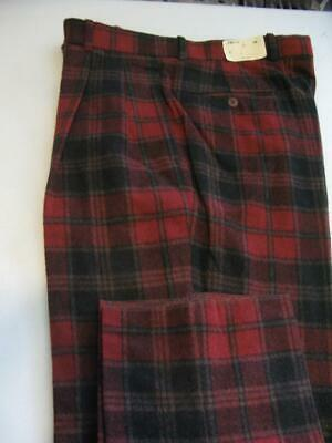 (T57) NWT JOHNNIE WALKER ULTRA SOFT WARM WOOL RED & BLACK CHECK PANTS- 34, used for sale  Shipping to India
