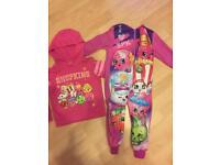 Shopkins hoodie and onesie age 3-4