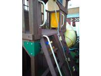 playhouse with slide & swings