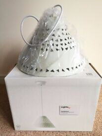 B&Q White Metal Pendant Ceiling Light – Brand New in Box