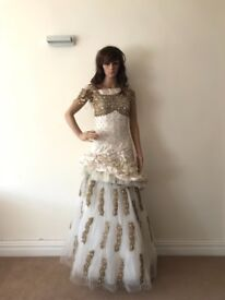 Wedding dress, registry, ball gown, ivory & gold, engagement