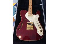 Rare Fender Squire Thinline Pro Tone Tele, hard shell case, and practice amp