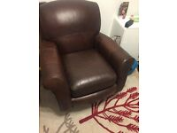 Leather arm chair may deliver if local. marks and specter brown excellent condition wooden legs