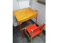 Child's desk and small chair