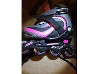 childs roller skates (speed 7000) pinkgrey very good condition size31-34