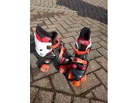 In line roller boots. Size adjustable. Size 3 upwards