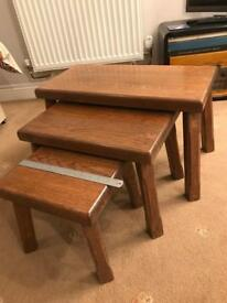 Set of chunky oak side tables