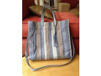 RUSSELL & BROMLEY Double Strap Blue Beige Stripe Shoulder Handbag Tote RRP £150 NEW NO TAGS