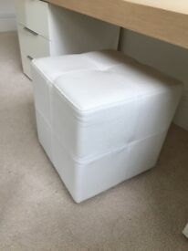 Small white leather upholstered cube seat. Excellent condition