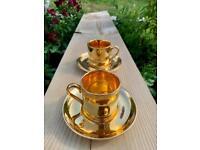 Vintage Crown Devon Gold Coffee Cups