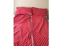 2 x red stripe single duvet sets