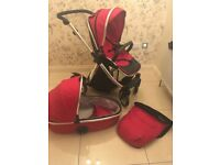 Oyster Max Red Baby buggy, and carry cot set, Ex. Condition includes footmuff