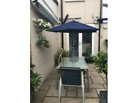 NEW BLUE GARDEN UMBRELLA WITH WINDER TO OPEN AND CLOSE