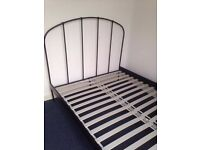 IKEA HALLINGBY Black metal Double bed frame (with wooden slats)